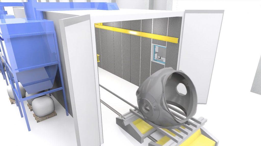 Chorreado con robot Hub torre eólica fundición